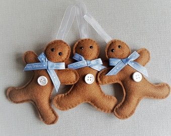 Felt Gingerbread Men - Happy Christmas