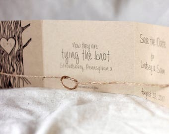 40 Tying the Knot Save the Date, Tie the Knot Invitation, rustic, Tree with Heart, Tie the Knot Save the Date, Rustic Save the Date