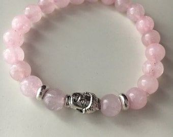 Rose Quartz Beaded Buddha Braclet