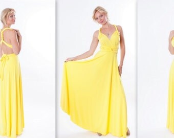 Yellow Infinity Dress - floor length  long straps in pastel yellow color wrap dress
