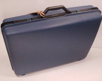 """Vintage Samsonite Concord SLX Hard Sided Suitcase, Slate Blue with Black Trim, 24""""x 18""""x 7"""", Made in Denver, Excellent Condition"""
