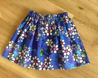 Pretty blue flower skirt, girls blue flower skirt, blue flower skirt, blue butterfly skirt, butterfly and flower skirt 4-5 yrs