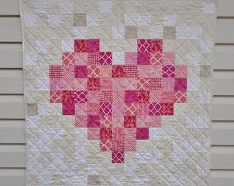 Baby Girl Pink Pixelated Heart Quilt