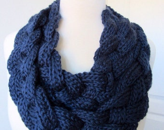 Navy Blue Braided Cowl