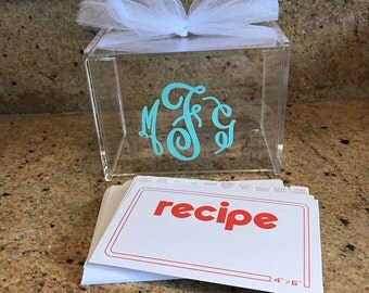 Personalized recipe box with recipe cards and dividers, monogrammed recipe box, recipe box, great bridal shower gift or house warming gift