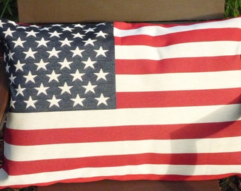 Stars and Stripes pillow sham. Tapestry style front of North American flag. Red canvas back with zip at base.