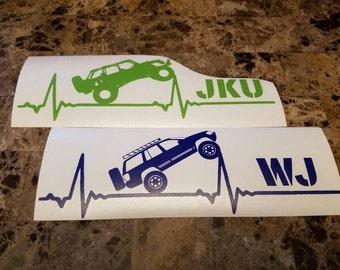 WJ/JKU Heartbeat Decal