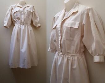 1970s Lanz Dress // 70s/80s Cream Lanz Shirt Dress