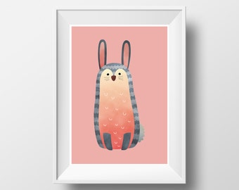 "POSTER. Printable A3 Pink Poster ""Bunny"" for Children Rooms. Instant download PDF."