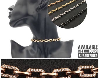 Choker Necklace, Cubic Zircon Link Chain , Choker Chain, Statement Necklace, Choker - Available in 4 colours! | Suradesires