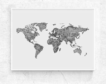 World Map art print, printable world map, large print, black and grey world map poster, world map wall art, world map print, 24x36, 18x24