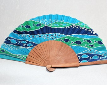 Silk Hand Fans handpainted. Handmade blue. Spanish Hand fan. Gift for her. Birthday gift. For Bridesmaid . Fashion accessories Marine colors