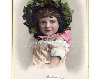 Early Trade Card Image, Digital Victorian Portrait, Young Girl, Card Making Image, PDF and JPG Files