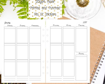 Classic WO2P | Week on 2 Pages EC Style A5 Vertical Printed Inserts for Filofax/Large Kikki K/Carpe Diem Planners - V1