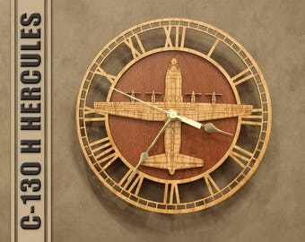 C-130 H Hercules Wooden Wall Clock, United States Air Force, Aircraft Gift Airplane Wood Clock Aviation Gift Military Gift Pilot Gift