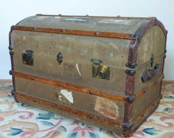 Domed Vintage Steamer Trunk with Labels - lovely old trunk with banding (stock#6563)