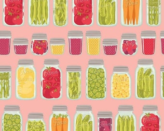 """Riley Blake     Farm Girl Fabric    By October Afternoon """"Mason Jars"""" In Pink Remnant"""
