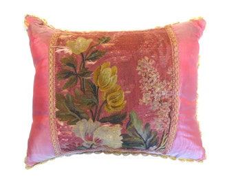 French Tapesty Floral Antique Pillow, 19th Century