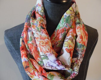 INFINITY SCARVES.Circle Scarf.Scarves.Tube Scarf.Summer.Spring.Easter.Style.Infinities.Fashion.Floral.Spring colors.