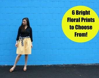 Various Neutral Floral Patterns, Womens Skirt, 2 COMPLIMENTARY Sashes, 100% Custom, Handmade Skirt, A-Line Skirt, Cotton Skirt, Midi Skirt
