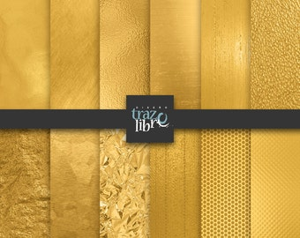 GOLD DIGITAL PAPER: Metallic Gold Digital Paper | Gold Paper | Gold Backgrounds | Gold Foil Paper | Gold Scrapbook Paper | Digital Download