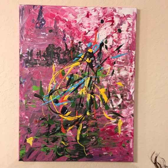 Original Mixed Media Abstract Painting 16 x 24 'The Little Girl Inside of Her'