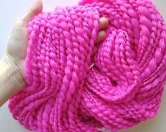 Pink Yarn / Neon / Merino / Textured Yarn / Handspun / Spiral Ply /  50 yards /  3.75 ounces / Novelty / Art Yarn / Pink / cotton / wool