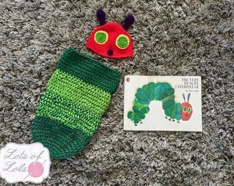 The Very Hungry Caterpillar baby crochet cocoon & hat set, photo prop, blanket, luxury, fun, newborn