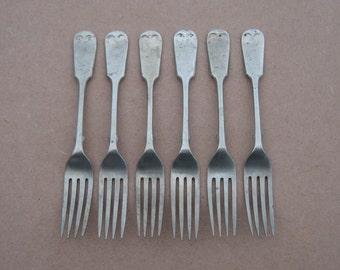 "Antique/Vintage Table Forks - Silver Plated - Barker Brothers ""Ascetic"" - Fiddle Pattern - Vintage Silverplate"