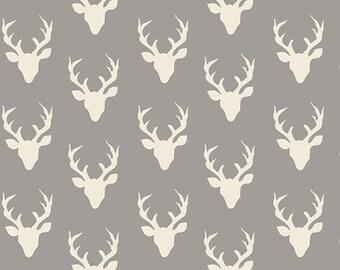 One Yard Tiny Buck Forest Gray Fabric, Tiny Hello Bear Mist, Bonnie Christine for Art Gallery Fabrics, Small Deer Fabric, Woodland Fabric