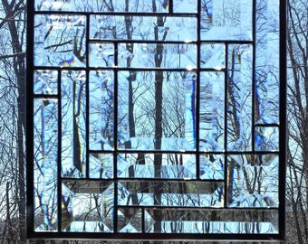 Clear bevel glass panel
