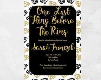 Fling Before the Ring - Bachelorette Party - Invitation - Printable - Personalized - Diamonds - Black & Gold
