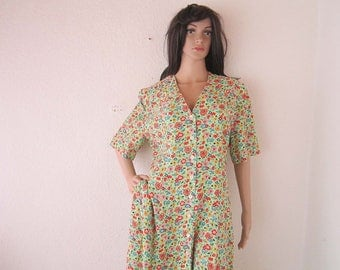 Vintage 80s dress dress robe Mille fleurs floral Germany S / m