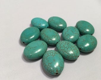 19 mm 10 pc Oval Turquoise Dyed Howlite