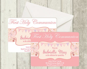 First Holy Communion Invitation, Floral Design with Diamante Detail, Envelope Included