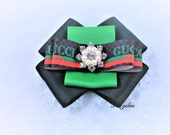 Gucci logo brooch Gucci logo Boutique Hair Bow fabric gucci bow many colors available ponytail holder hair clip gucci Brooch gift idea
