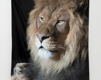 Lion Tapestry ~ Animal Decor ~ Big Cat Wall Decor ~ Oversized Wall Art ~ Lion King Fabric ~ Gift for Him ~ Apartment Decor, Big Cat Tapestry