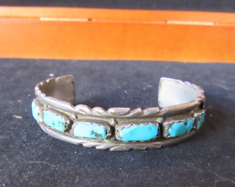 Wonderful Turquoise Sterling Silver Cuff Bracelet Southwest Style Wayne C Signed (E99)