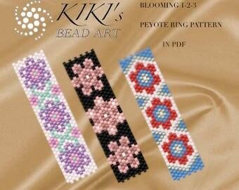 Pattern, peyote flowery rings Blooming 1-2-3 - peyote ring set of 3 patterns in PDF - instant download