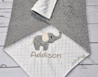 Personalized Baby Blanket-Elephant Minky baby blanket-Elephant Minky blanket-Personalized Minky Blanket-Minky baby blanket-Boy Minky Blanket