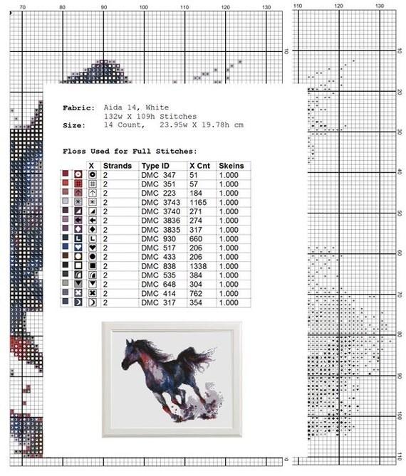 Horse Cross Stitch Pattern, Modern Embroidery Chart