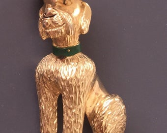 Adorable Vintage Dog With Halo Brooch .
