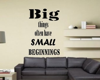 Big things often have small beginnings Insprational quote lirycs wall Sticker vinyl decor Decals decoration Scripture cheap Removable