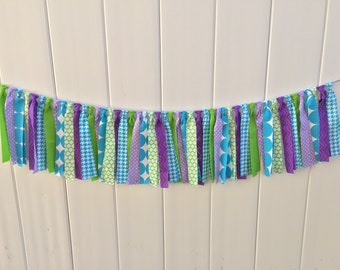 Monsters inc fabric banner, scrappy banner, monsters inc banner, highchair banner, monsters inc party, birthday banner, fabric banner