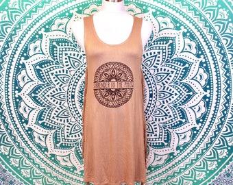 Large Tan Phish Surrender to the Phlow Mandala Print Side Fringe Tank Dress