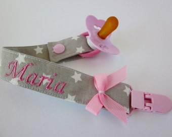 Baby girl pacifier holder, baby girl pacifier clip, pacifier clip personalized