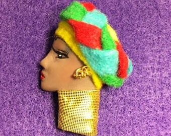 Amsale,African Lady Face Pin Brooch