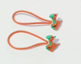 parasaurolophus dino dinosaur hair ties ponytail elastics *set of 2*