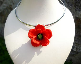 Poppy necklace Red poppy pendant Poppy jewelry Red poppy pendant Red poppy necklace Choker poppy Red flower necklaceb Ukrainian necklace