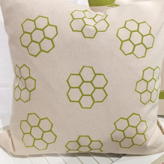 Accent pillow cover, organic cotton 18 inch, hexagons, green, natural background, throw pillow, green decor, bedroom, gift idea